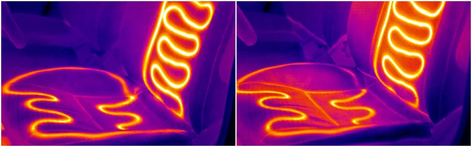 В инфракрасном свете электрообогрев сидений