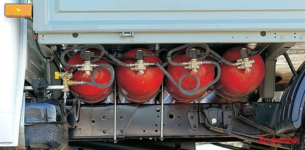 В четыре баллона газ закачивают подавлением 200атм примерно 10минут.