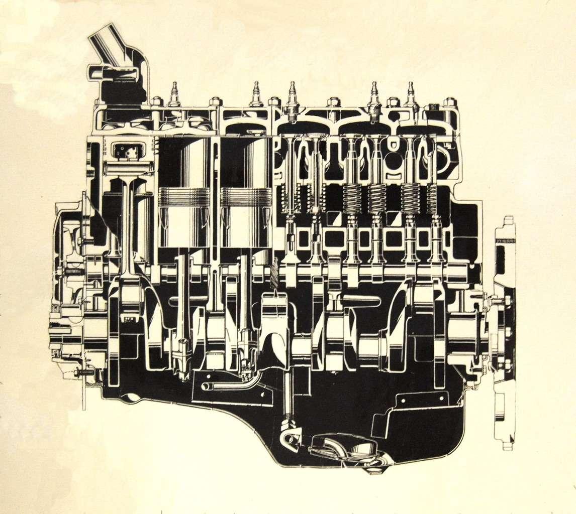 Продольный разрез шестицилиндрового мотора ГАЗ М-11в варианте длябудущего грузовика ГАЗ-51.