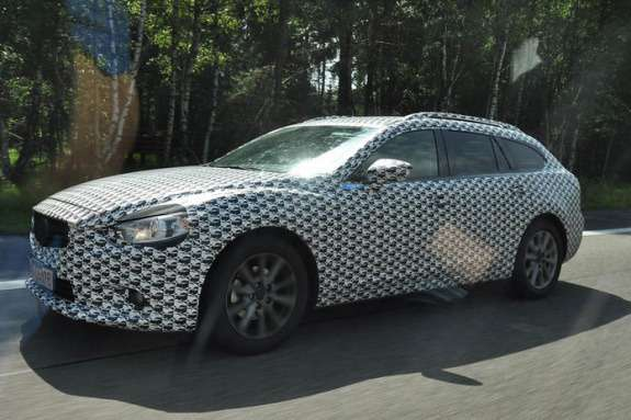 New Mazda6 station wagon test prototype side-front view