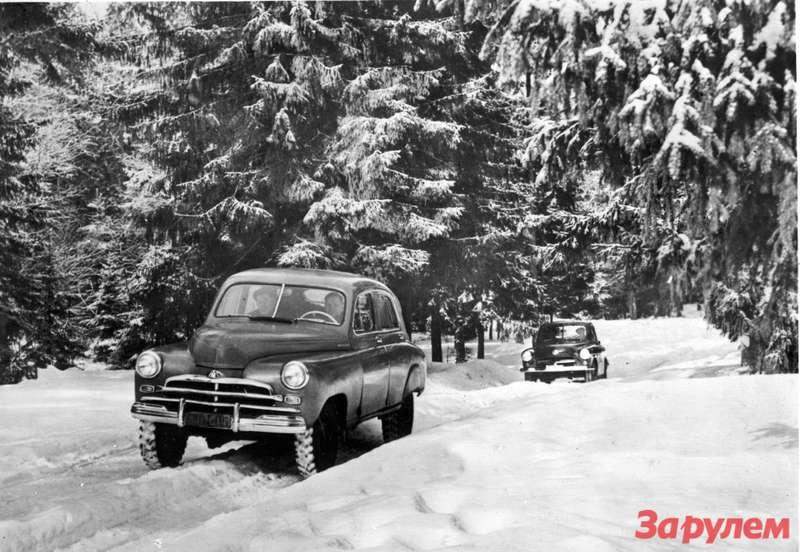 Испытания вездеходов ГАЗ М72и ГАЗ М73, ставших предтечей современных кроссоверов, 1955год
