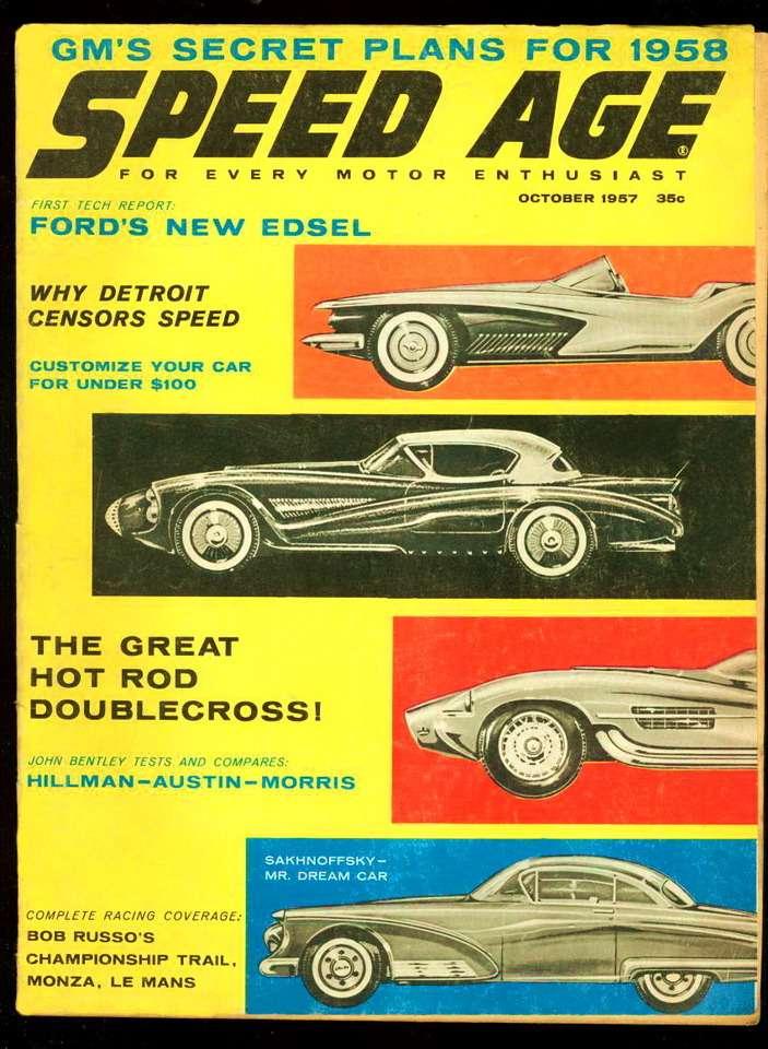 Насклоне лет Алексей Сахновский поселился воФлориде, где старательно оправдывал прозвище, данное ему журналистами— Mr. Dream Car. Онохотно сотрудничает сжурналами, публикуя проекты фантастических машин. Наснимке— обложка журнала Speed Age заоктябрь 1957 года. Большая индустрия, перейдя намассовый выпуск автомобилей снесущими кузовами, больше ненуждалась вфигурах, подобных Рэймонду Лоуи, Алексу Тремюлусу идеСахновски. Зато эскизы Алексея Владимировича вдохновили добрый десяток «самодельщиков» напостройку родстеров скузовом изстеклопластика