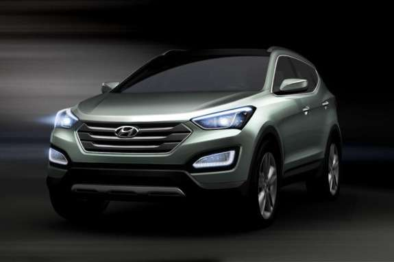 Sketch ofthe new Hyundai Santa Feside-front view