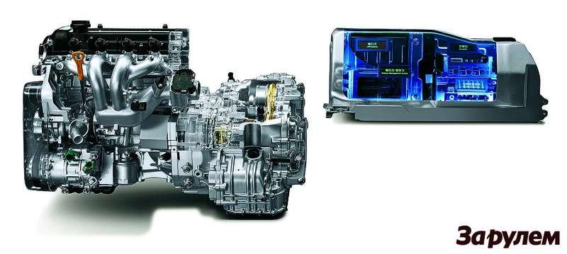 Блок ДВС-электромотор-вариатор располагается подкапотом, высоковольтные батареи, инвертор иблок управления— зазадним диваном, внизу.