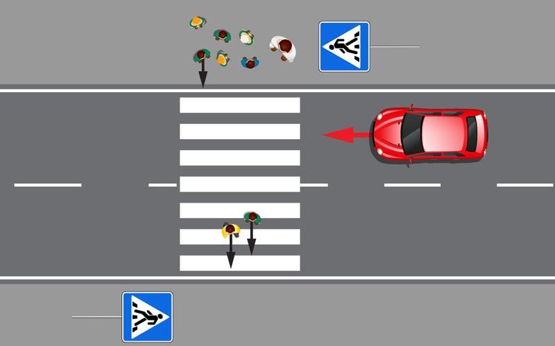 Пешеходы уже узебры— тормозить? или гоним?