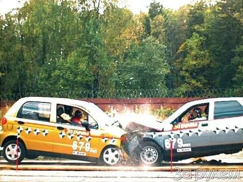 Крэш-тест: daewoo matiz иваз-2112. лобовая атака— фото 52359