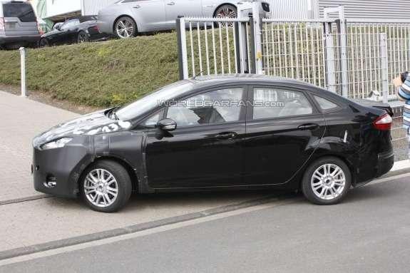 Ford Fiesta sedan test prototype side view