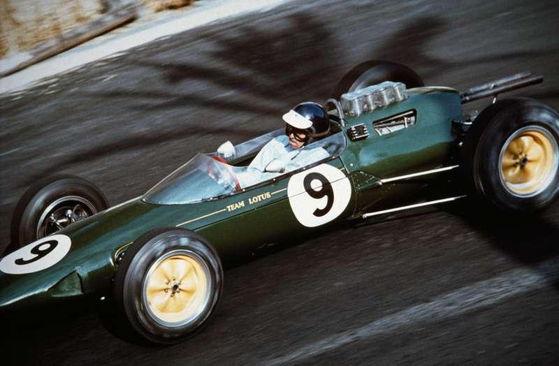 Jesse Alexander.  Jim Clark inthe Lotus-Climax, 1963