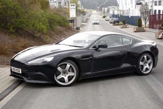 Restyled Aston Martin DBS test prototype side-front view 2