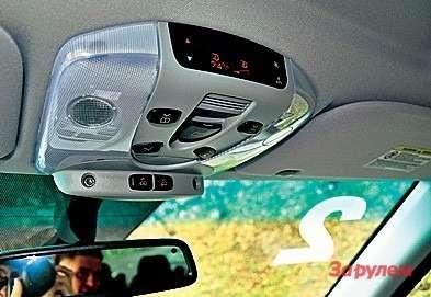 Блок управления климат-контролем (дополнительное оборудование) расположен напотолке надпередними сиденьями.
