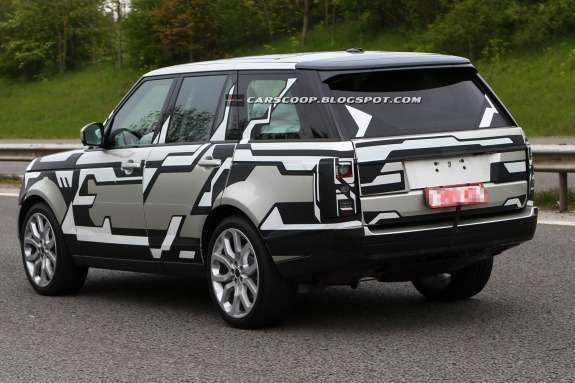 New Land Rover Range Rover test prototype side-rear view