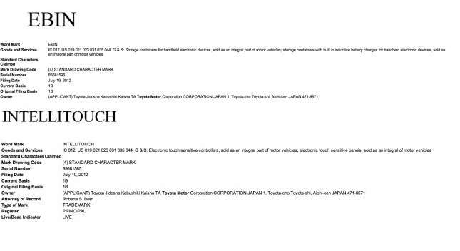 Toyota EBIN and Intellitouch trademark applications