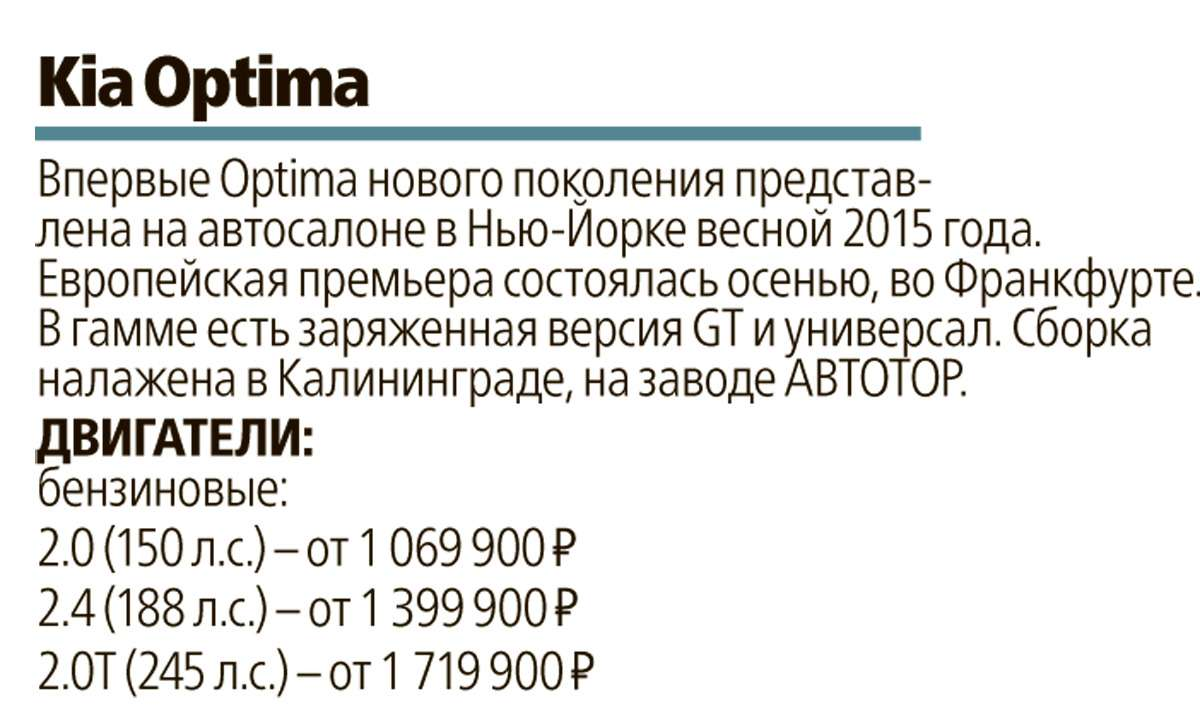 Супертест: новая Kia Optima против трех конкурентов— фото 596207