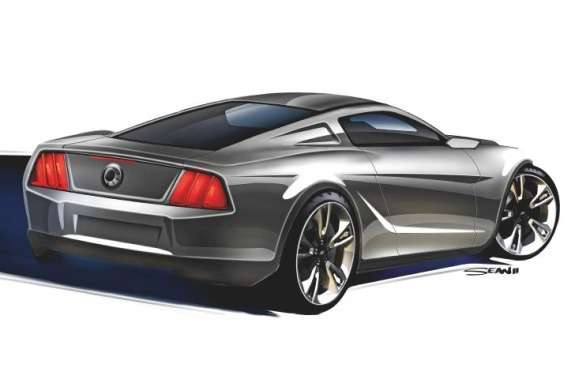 Next Ford Mustang rendering by Sean Smith side-rear view