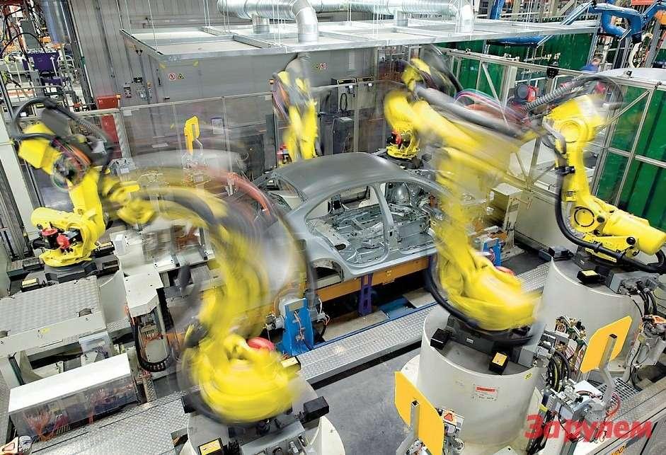 Напредприятии трудится БОЛЕЕ СОТНИ РОБОТОВ, втом числе иуникальные роботы длялазерной сварки ипайки. При ихиспользовании из-за высокой концентрации энергии лазера площадь привариваемого металла сводится кминимуму, аинтенсивность нагрева иохлаждения шва куда выше, чем вовремя контактной, электродуговой сварки. Благодаря этому скорость выполнения операции уменьшается вразы, как истепень последующей деформации сварной конструкции.