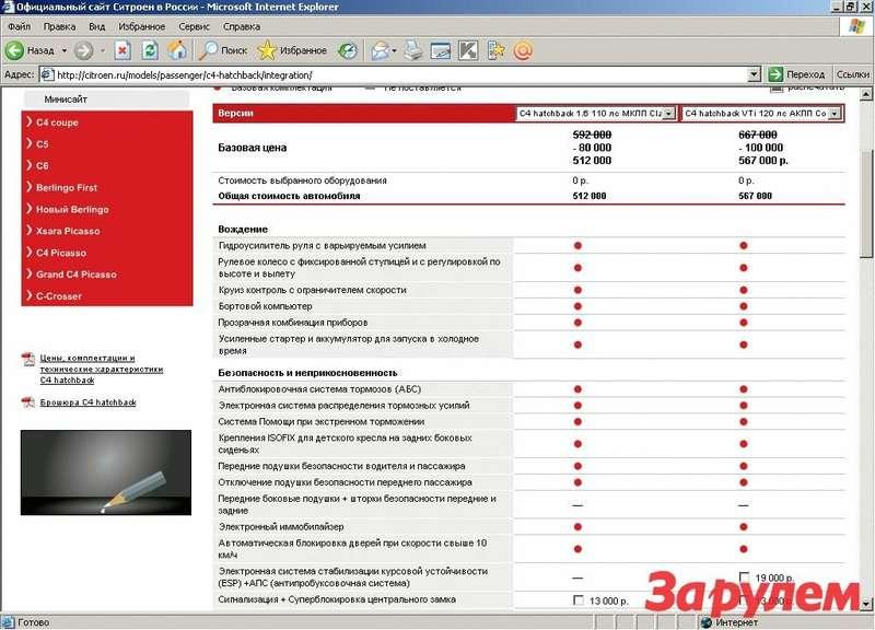 Сайт «Ситроена »— пример удобного размещения большого объема информации. Несмортя наобилие сведений, пользоваться конфигуратором очень легко. www.citroen.ru