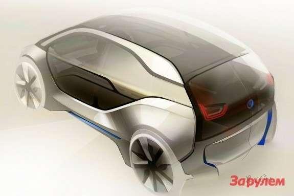 BMWi3sketch side-rear view