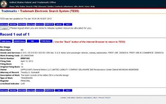 Chevrolet SS trademark application
