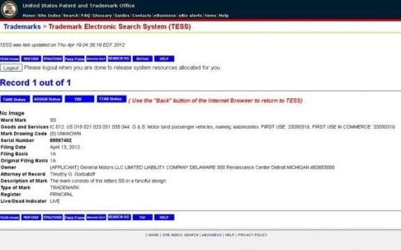 Chevrolet SStrademark application