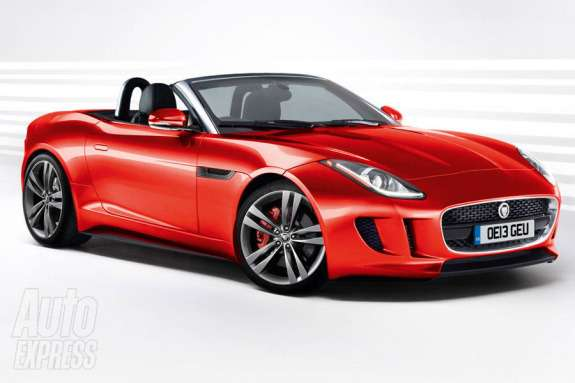 Jaguar F-Type rendering by Auto Express side-front view