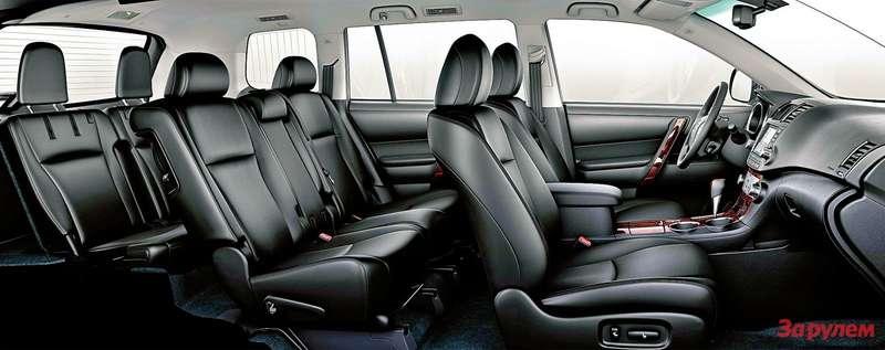 Toyota Highlander: Семиместный салон приютит скомфортом даже пассажиров «галерки». Аесли имбудет тесновато, второй ряд можно сдвинуть вперед на120мм. Втаком автобусном варианте грузовой отсек ничтожно мал, ноувеличить его можно одним движением, сложив сиденья прямо избагажника.