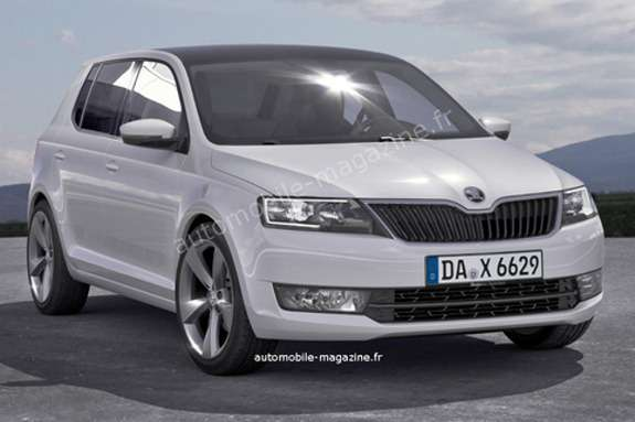 Next Skoda Fabia rendering byL'Automibile side-front view