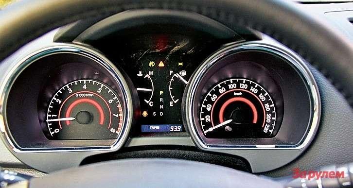 Toyota Highlander: Дизайном щиток приборов «Хайлендера» напоминает «Ленд Крузер». Только выглядит проще идешевле. Вместо симпатичного центрального дисплея невзрачные приборы, зажатые между объемных колодцев, вкоторых прячутся спидометр итахометр.
