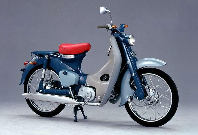 Honda Super Cub C100 1958 года— первый мотоциклетный «хит» компании. Донастоящего времени выпущено свыше 60миллионов таких мотоциклов. Причем заэто время они не слишком изменились внешне. Всего жекомпания Honda выпустила свыше 150 миллионов двухколесных транспортных средств