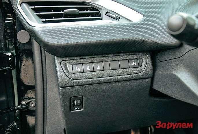 Клавиши включения парк-пилота, отключения системы стабилизации исистемы «старт-стоп» расположены полевую руку водителя.