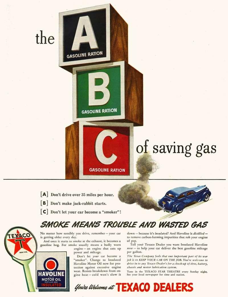 Реклама американской системы стикеров, покоторым отпускалось топливо— популярная вовсех англоязычных странах считалочка на«A-B-C». Снаклейкой «А» автовладелец получал право на3— 4галлона бензина внеделю (1американский галлон =3,79л), снаклейкой «В»— на8галлонов, астикер «С» выдавался тем, кто использовал свой автомобиль дляобщественно-полезной деятельности (например, врачи ипочтовые служащие). Фото: www.thehenryford.org