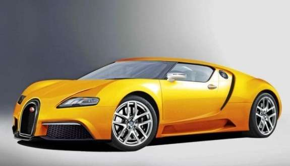 Next generation Bugatti Veyron rendering byAuto Express side-front view