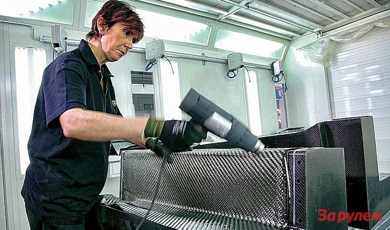 Формирование деталей изуглеволокна спредварительно впрыснутой термочувствительной смолой идет накарбоновых матрицах спомощью теплового пистолета.