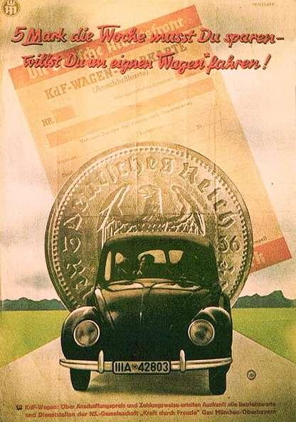 Окончательный облик Volkswagen приобрел в1938 году. Тогда жеразвернулась всенародная подписка наавтомобиль