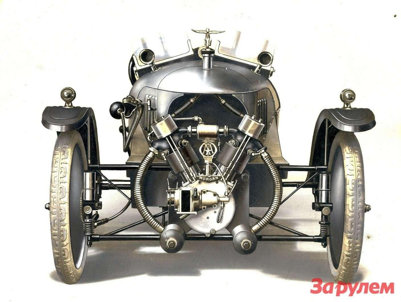Водяное охлаждение появилось натрехколесных автомобилях Morgan в1914 году