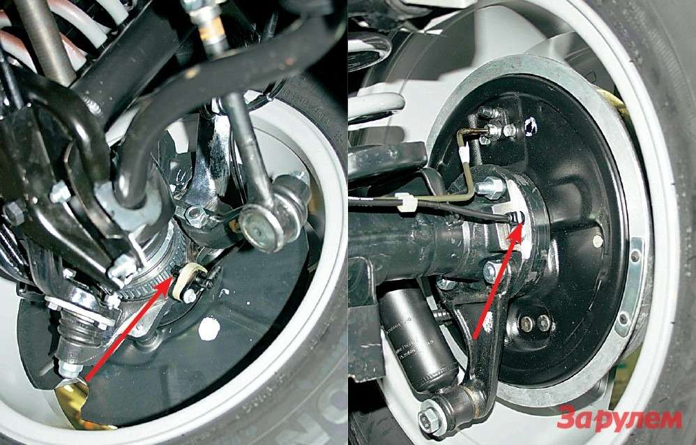 Антиблокировочная система не может обойтись без роторов идатчиков скорости вращения колес.