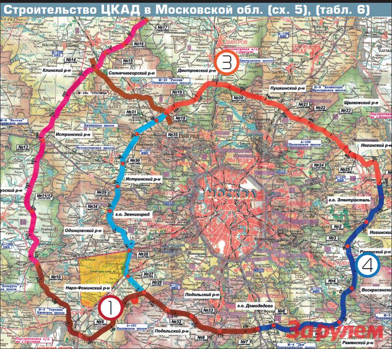 Строительство ЦКАД вМосковской обл. (сх. 5), (табл. 6)