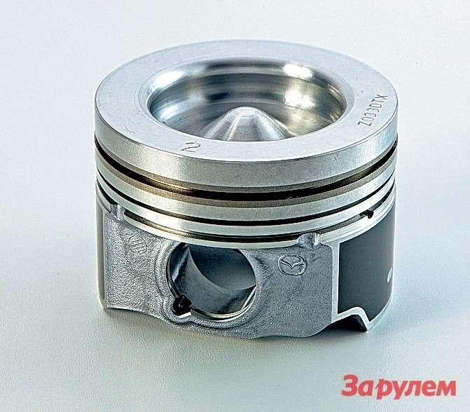 Основные отличия поршней двигателя «Скайэктив-D» отMZR-CD: меньше потери натрение, скромнее масса, больше объем внутренней камеры сгорания, поуже отверстие подпоршневой палец.
