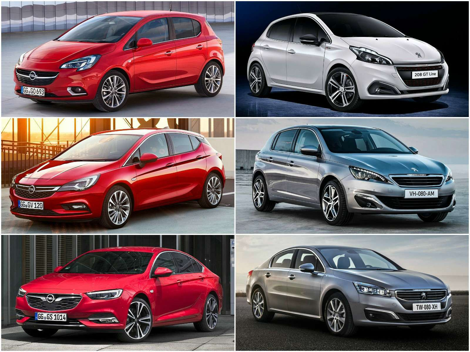 Opel Corsa иPeugeot 208, Astra и308, Insignia и508