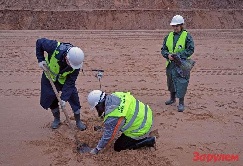 Проверка степени уплотнения песчаного слоя