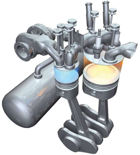 Scuderi twin-cycle Miller gasoline engine