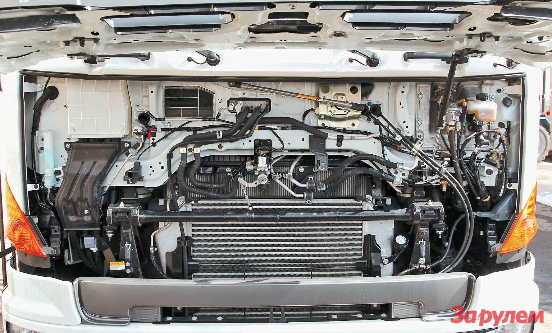 Подвеска кабины комбинированная: впереди— две пневматические «точки» собщим дляних регулятором уровня, сзади— надвух пружинных стойках