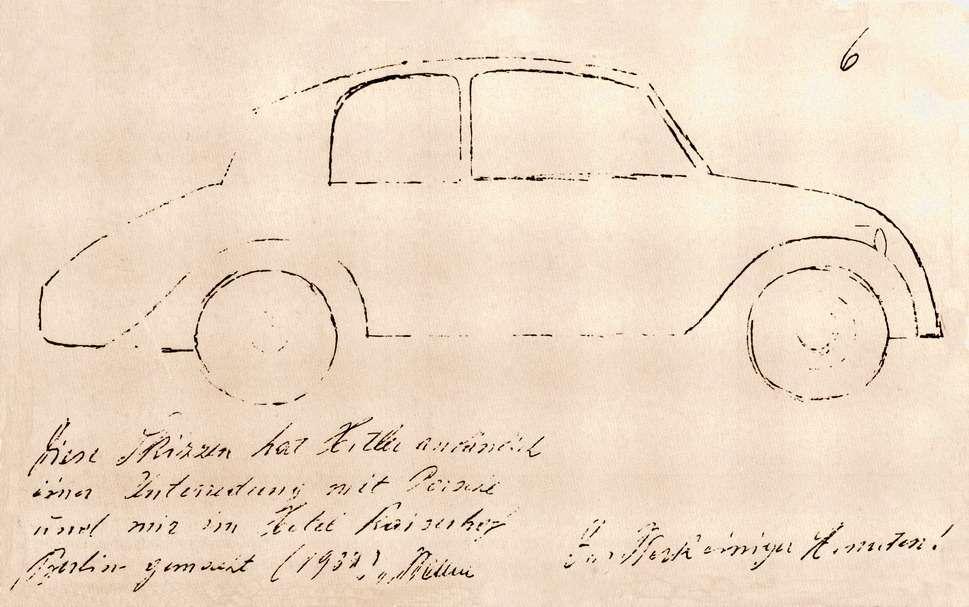 Один изэскизов, сделанных Гитлером вотеле Кайзерхоф вприсутствии Фердинанда Порше иЯкоба Верлина (промышленного функционера, курировавшего автомобильную отрасль)