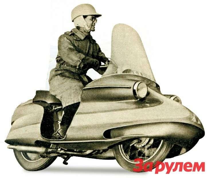 В 1956 году редакция англий- R7, можно понять. ского журнала The MotorCycle совместно скомпанией Royal Enfield провела конкурс среди читателей налучший проект капотированного мотоцикла. Победителя воплотили вметалле ипластике.