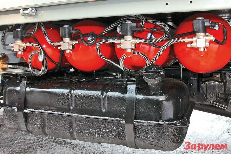 Четыре баллона вмещают 212 литров сжатого природного газа поддавлением 200 атмосфер, наэтом количестве «Газель» сможет проехать 300 километров