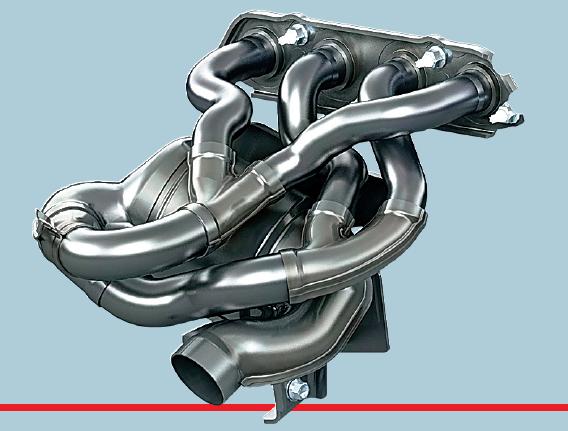 Длинный выпускной коллектор, выполненный посхеме 4-2-1, снижает объем иостаточное давление газов, возвращающихся вкамеру сгорания.