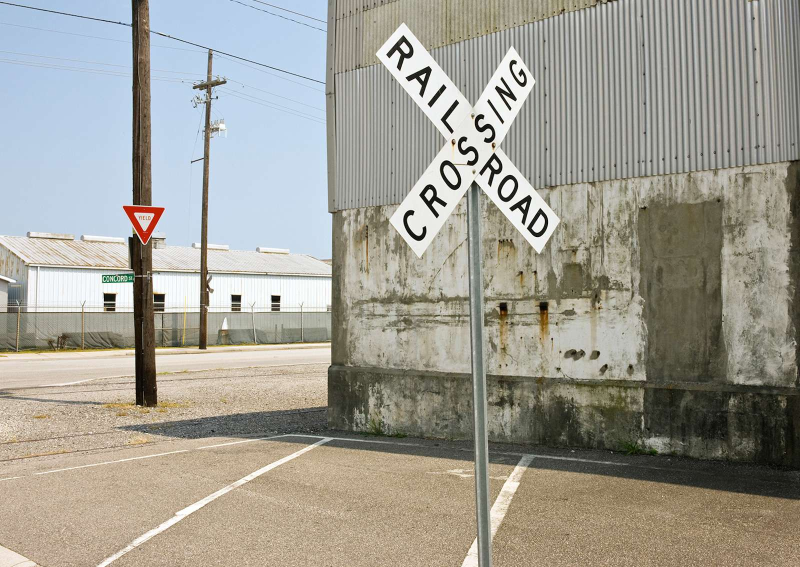 Railroad crossing sign insmall town