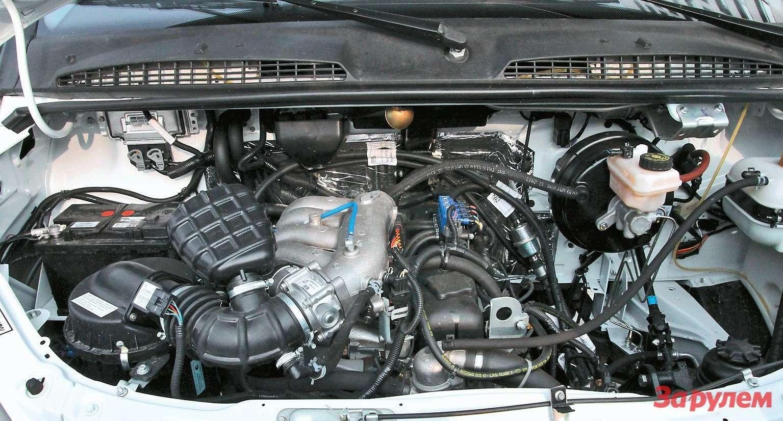 Подкапотом «ГАЗели» CNG установлен двигатель УМЗ 4216(сдополнительным индексом «47»). Мотор соответствует экологическому стандарту Евро 4