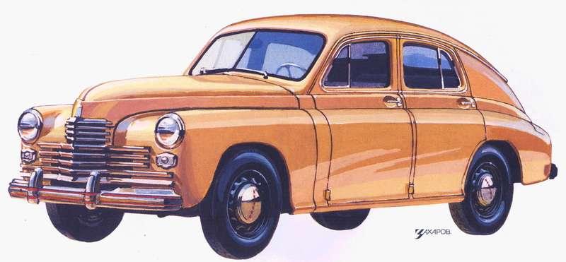 ГАЗ-М20«Победа» нарисунке Александра Захарова дляисторической серии журнала «Зарулем».