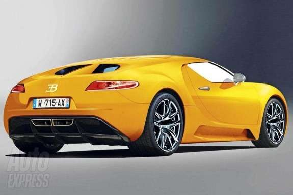 Next generation Bugatti Veyron rendering by Auto Express side-rear view