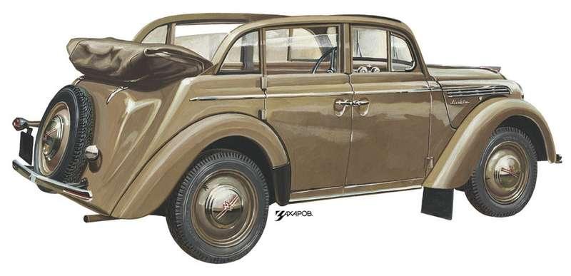 Кузов 420А, понемецкой классификации 4-t?rige Cabrio Limousine, впрограмме Opel отсутствовал. Немцы выпускали такую модель только сдвумя дверьми. Такую модификацию сконструировали вШварценберге. Брусья верхнего обвода дверей сохраняли жесткость несущего кузова. Также кузов кабриолета был усилен посравнению сседаном. «Москвич-400-420А» выпускался с1949по 1954год, сделано 17742 экземпляра. Рисунок Александра Захарова